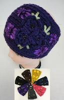 Wide Hand Knitted Ear Band [3 Flowers]